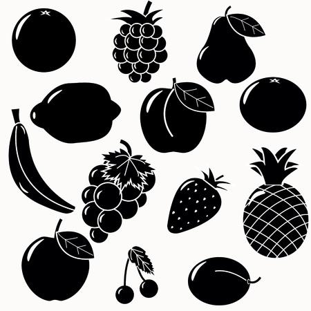 plum: fruits silhouettes set. 13 fruits vectors Illustration