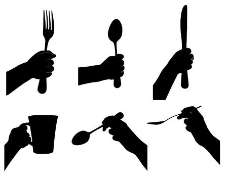 cuchara y tenedor: �tiles de cocina en la mano vectores silueta establecida. Vectores