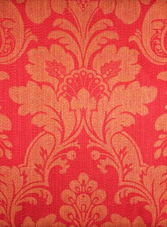 red textile wallpaper. floral pattern background.