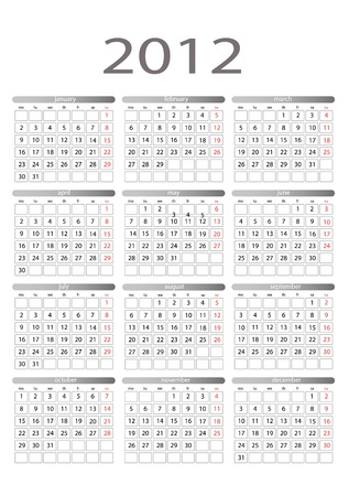 Simple calendar for 2012 on a white background. Starts monday.