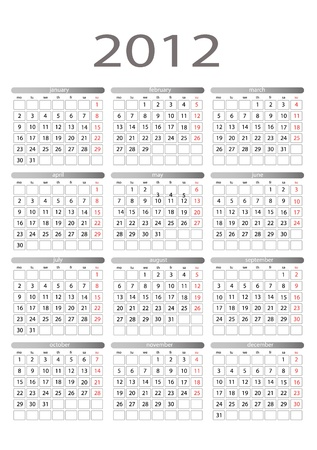 Simple vector calendar for 2012 on a white background. Starts monday. Illustration