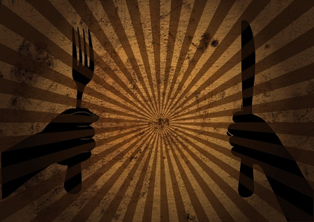 abstract background with hands and kitchen tools. eating or hunger concept.