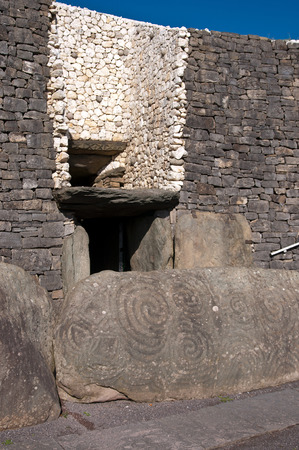 Newgrange Irish passage tomb entrance stone Ireland.