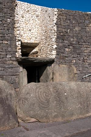 Newgrange Irish passage tomb entrance stone Ireland.