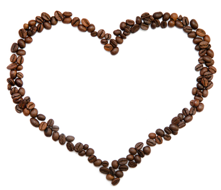 One heart from coffee beans without background