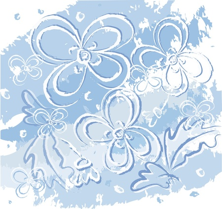 Illustration with flowers , winter pattern, blue background, Illustration