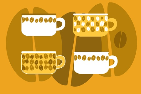 Illustration with cups of coffee and beans