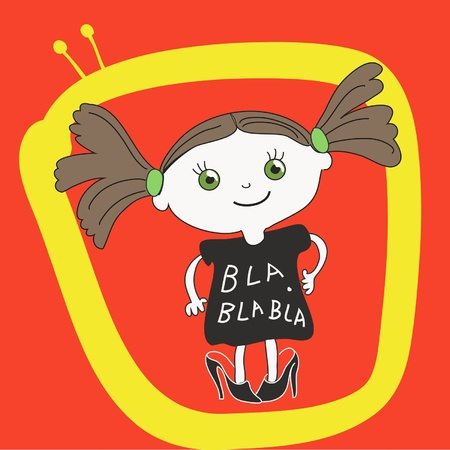 Little girl in big shoes on red background with tv symbol   carton character Illustration
