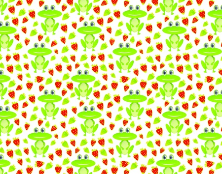 Seamless pattern with frog and strawberry on white background, eps 10 Stock Vector - 13110117