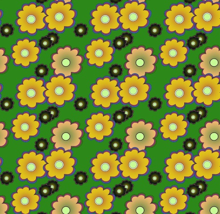 Floral pattern in green colors, seamless ornament