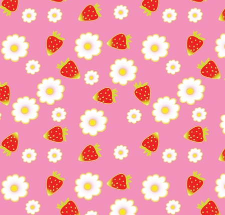 strawberry pattern  on pink background, seamless ornament, eps 10