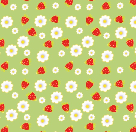 seamless pattern with strawberry and flower, eps 10 Illustration
