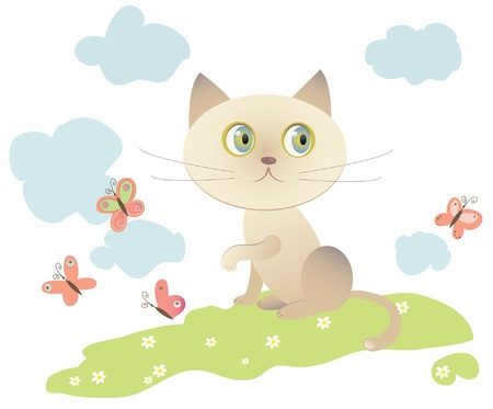 little cat playing with butterflies,
