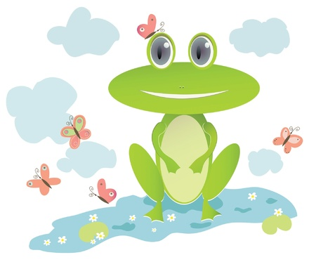 illustration of frog in lake with water flowers and butterflies Illustration