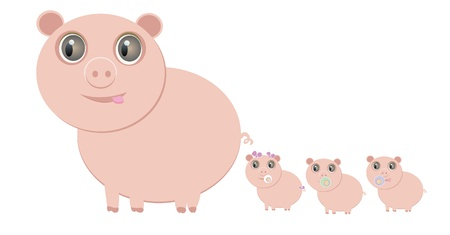 mother pig and her little piglets, eps 10 Vector