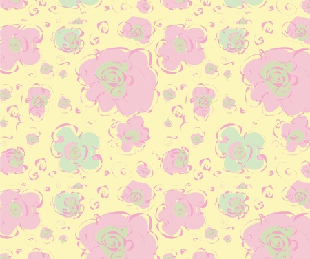 Abstract pattern with pastel coloured flowers and rose serpentine, seamless Stock Vector - 13200383