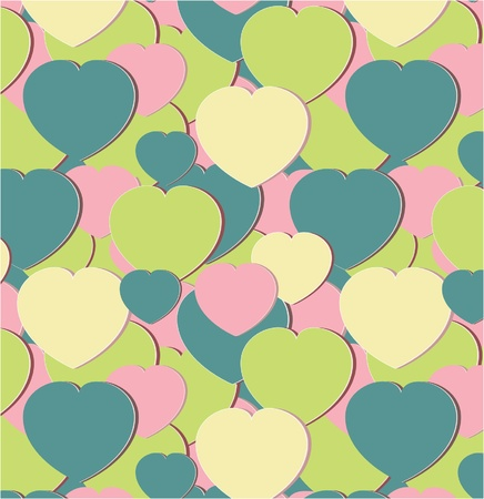 seamless pattern with green hearts