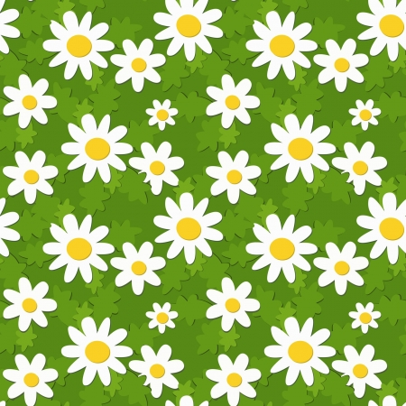 seamless pattern with applique camomiles, eps 8 Illustration