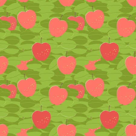 red apples seamless pattern with green leaves