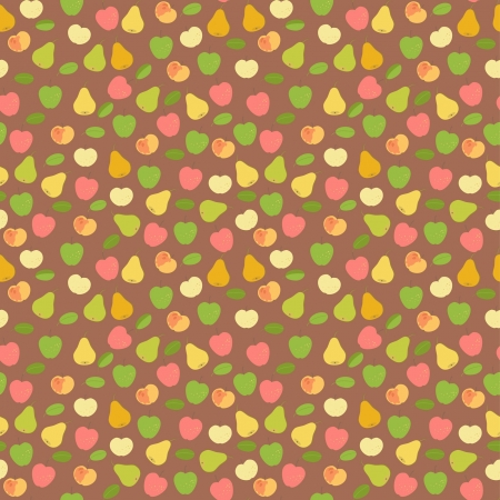 Seamless pears and apples harvest ornament Illustration