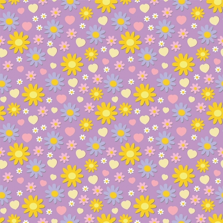 violette: seamless pattern with bright flowers and hearts Illustration