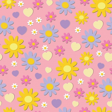 flowers pattern on pink background, seamless texture Stock Vector - 14119321