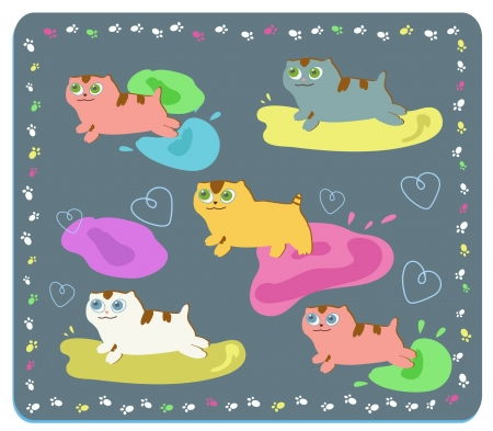 cartoon image of cute kittens playing with paints, eps 8 Illustration