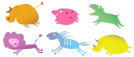 set of funny running cartoon animals Vector