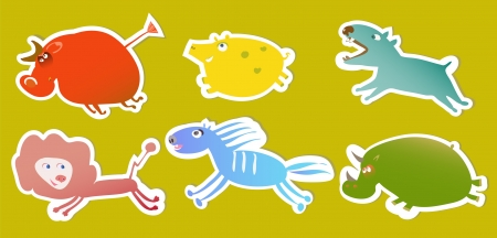 set of bright tags with funny animals Vector