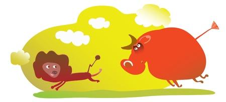 toro arrabbiato: immagine cartone animato divertente di leone che va dal toro infuriato