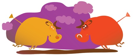 comic picture of two fighting angry bulls Vector