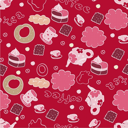 Seamless ornament with cup, teapot, napkin, candy, cookies, cake, white contour on vinous background