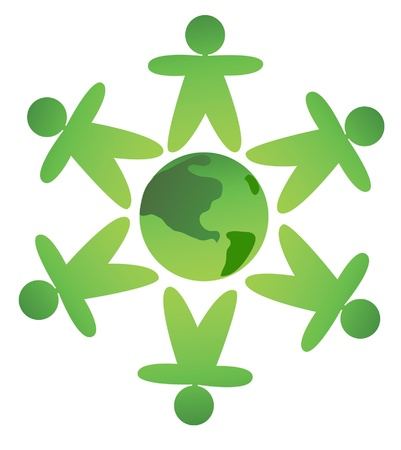 protect earth: green men protect earth, ecological concept Illustration