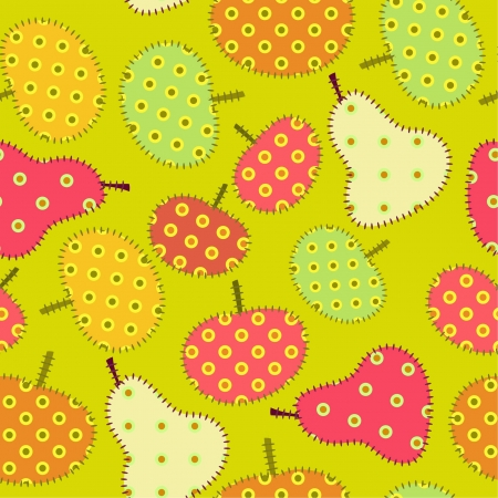 seamless fruits patchwork  ornament, colorful pears and apples, autumn mood Vector