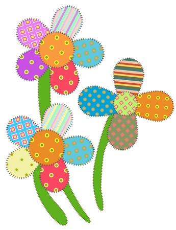 feitas à mão: imagem de flores de patchwork, isolar no branco