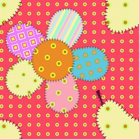 seamless patchwork pattern with  pears and flowers Vector