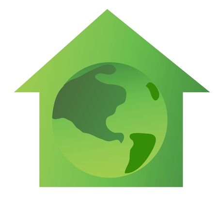 conceptual ecological image of houses silouette with earth inside Vector