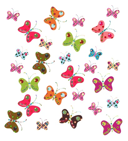 set of bright colorful butterflies, patchwork looked Vector