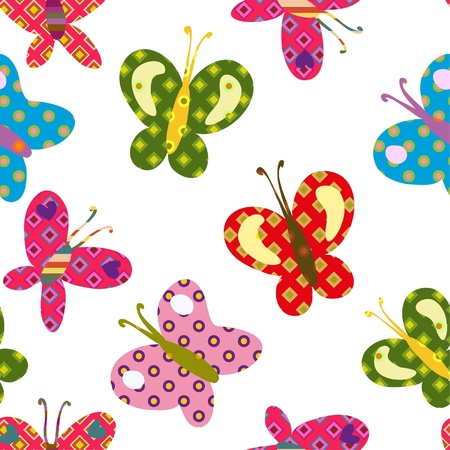 seamless colorful pattern with beautiful bright butterflies Illustration