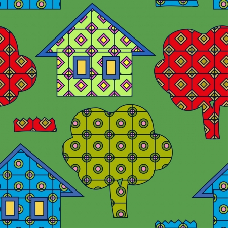 bright seamless  village pattern Vector