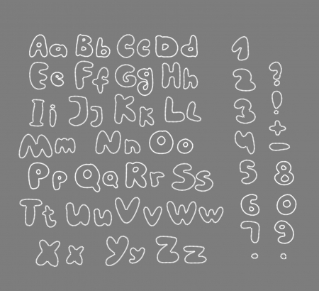 contoured: puntada contorneada alfabeto sobre fondo gris