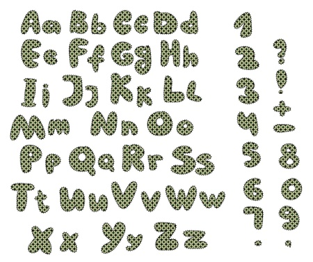 patchwork alphabet in green colors Vector