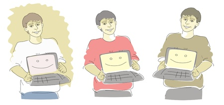 repaired: three image of guy with repaired computer