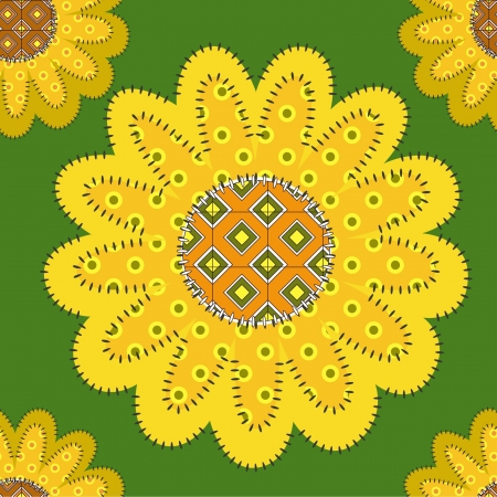 patchwork sunflowers ornament, seamless Çizim