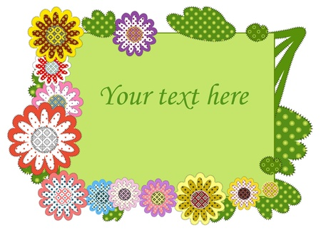 greeting frame decorated with patchwork flowers Illustration