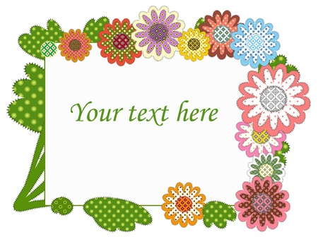 patchwork stylised greeting frame Vector