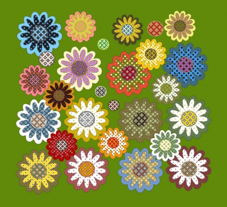 set of patchwork flowers for you design Vector