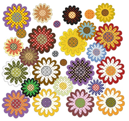 set of decorative ornamented patchwork sunflowers