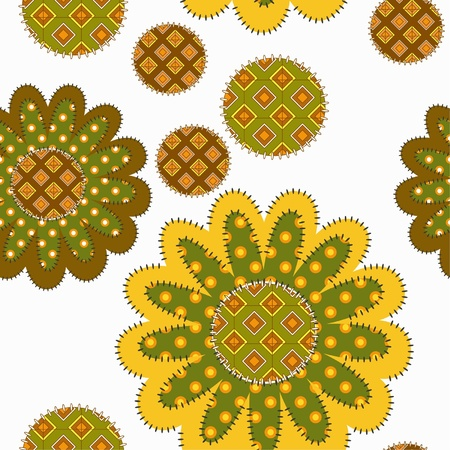 decorative patchwork sunflower ornament on white background Vector