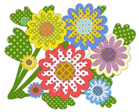 needlework: fiori decorativi patchwork Vettoriali